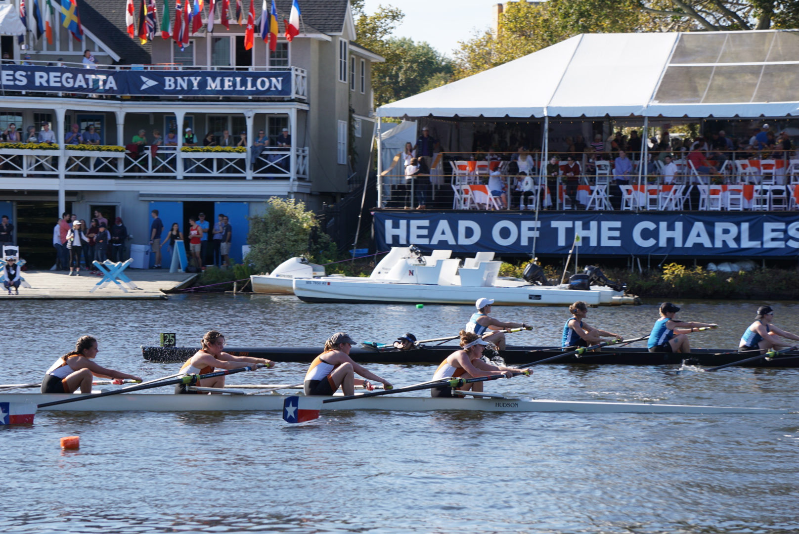 Texas Crew's Women's Club 4+ competing at Head of the Charles in Boston (Oct 2017)