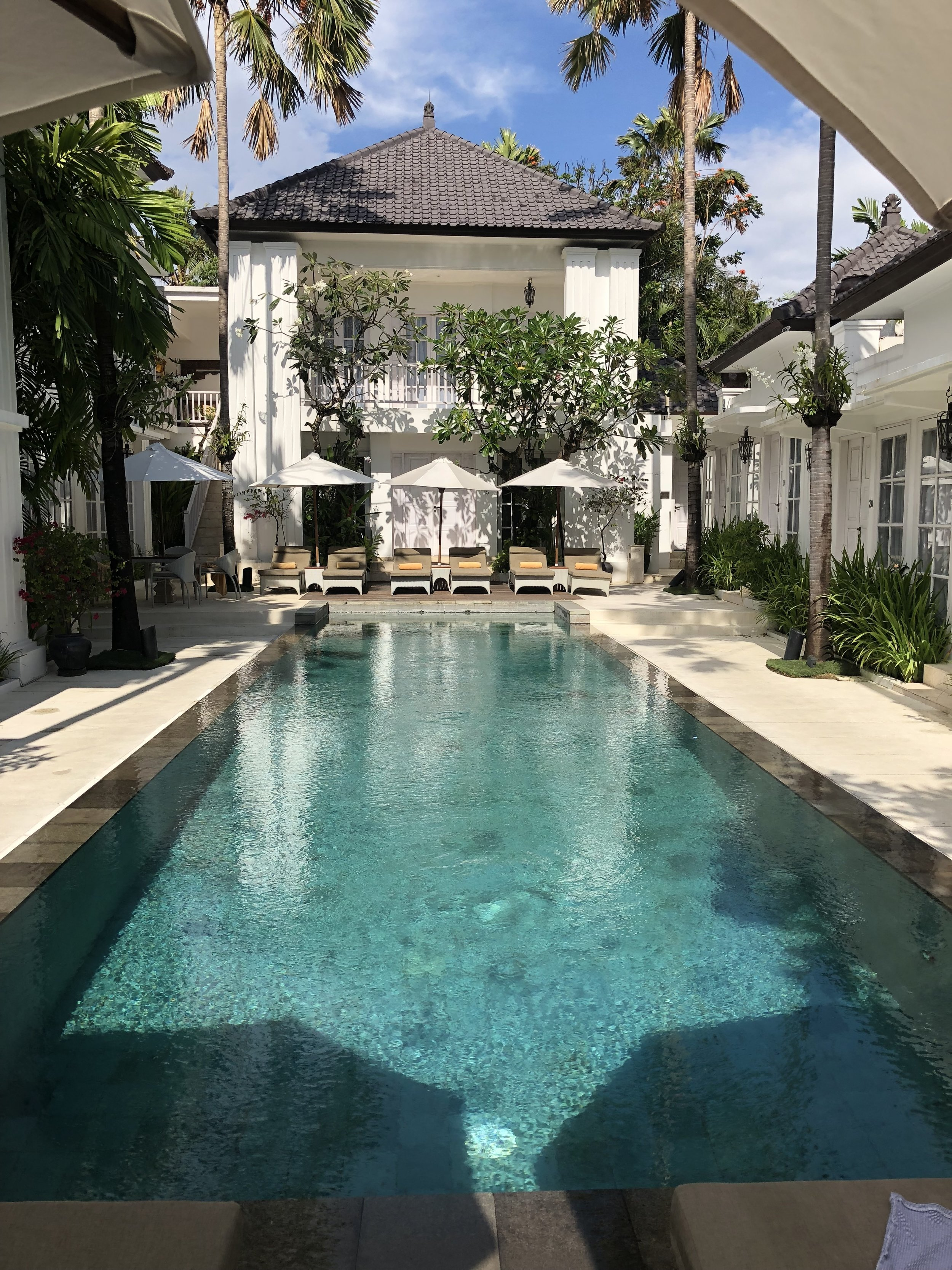 This little hidden gem in Bali, The Colony Hotel, is barely visible from the tiny but busy street it sits behind.