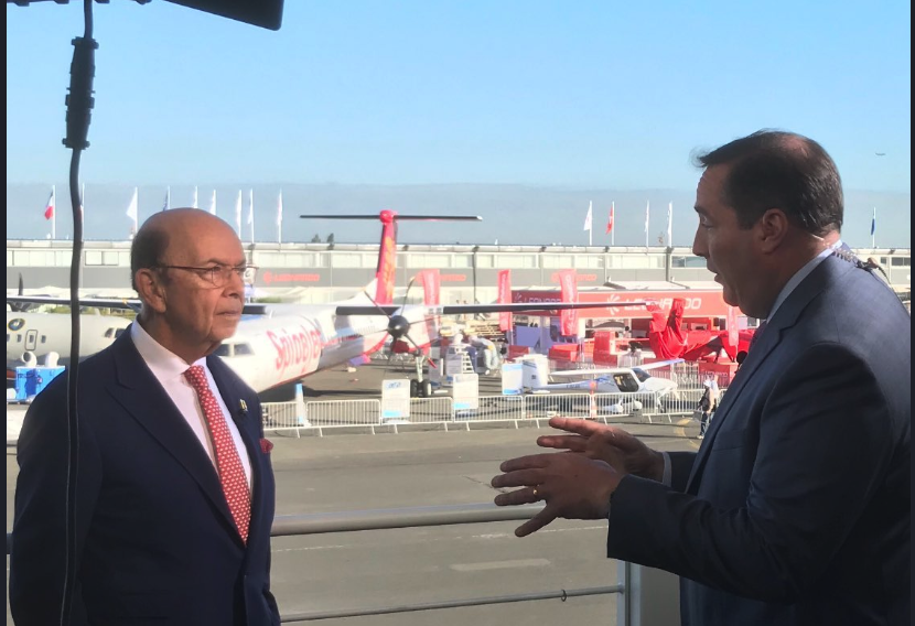 Phil LeBeau (right) at the Paris Air Show with U.S. Commerce Secretary Wilbur Ross (from Twitter)