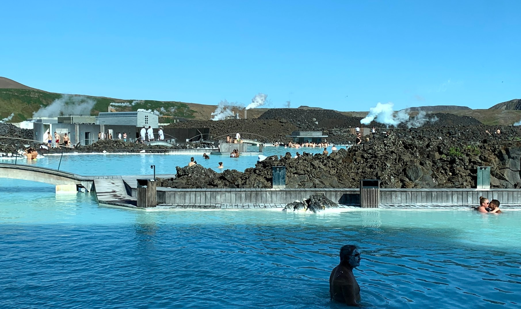 A true photo of the Blue Lagoon and thermal plant beyond….