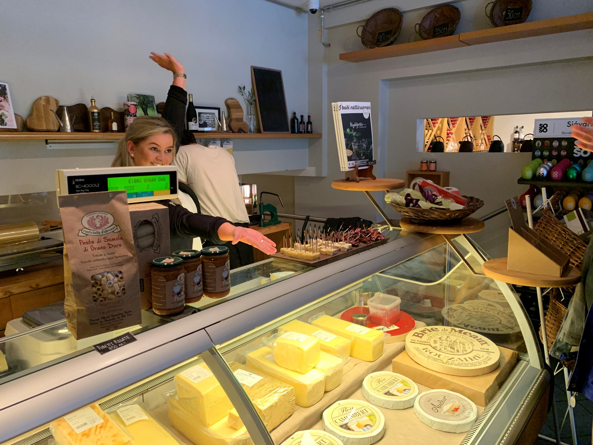 The lovely Anna giving us all the cheese options at  Ostabúðin/Cheese shop