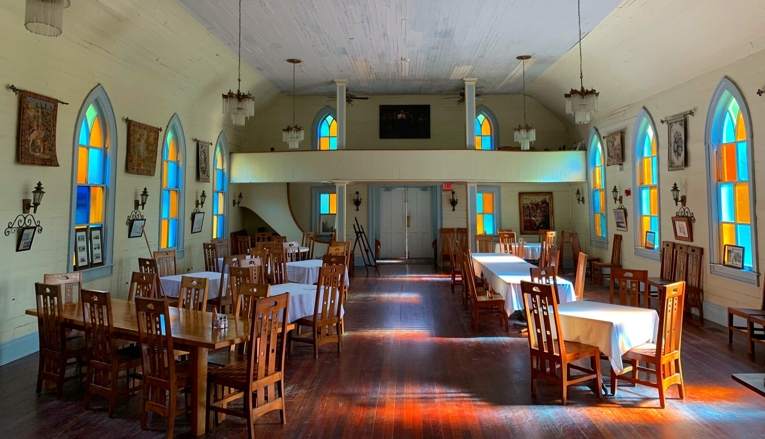 One a church now a cozy dining hall at Woodland Plantation