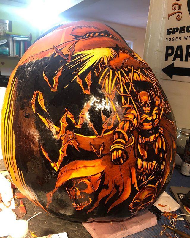 My version of inktober 🎃 round 2 Batman carved . . . . . . #batman #comics #jackolanternspectacular #jackolanternspectacular2018 #rogerwilliamszoo #ink #inktober #sharpie #pumpkin #pumpkincarving #jackolantern #fall #carving #art #drawing #carve #orange #skull #scarecrow #bat