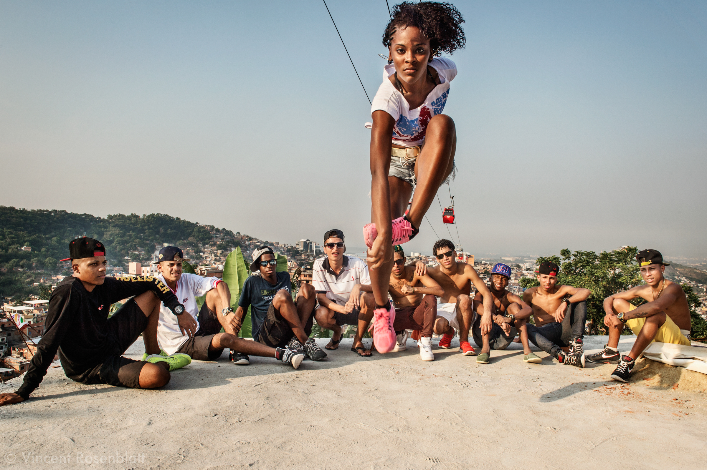 "Celly IDD - the most renowned female dancer from ""Passinho"" funk dance.. Rehearsal of the show ""Na Batalha"" on a rooftop of the Complexo do Alemão favelas. Elite dancers of the ""Passinho"" (little step) the newest dance fiever that came out the Baile Funk culture."