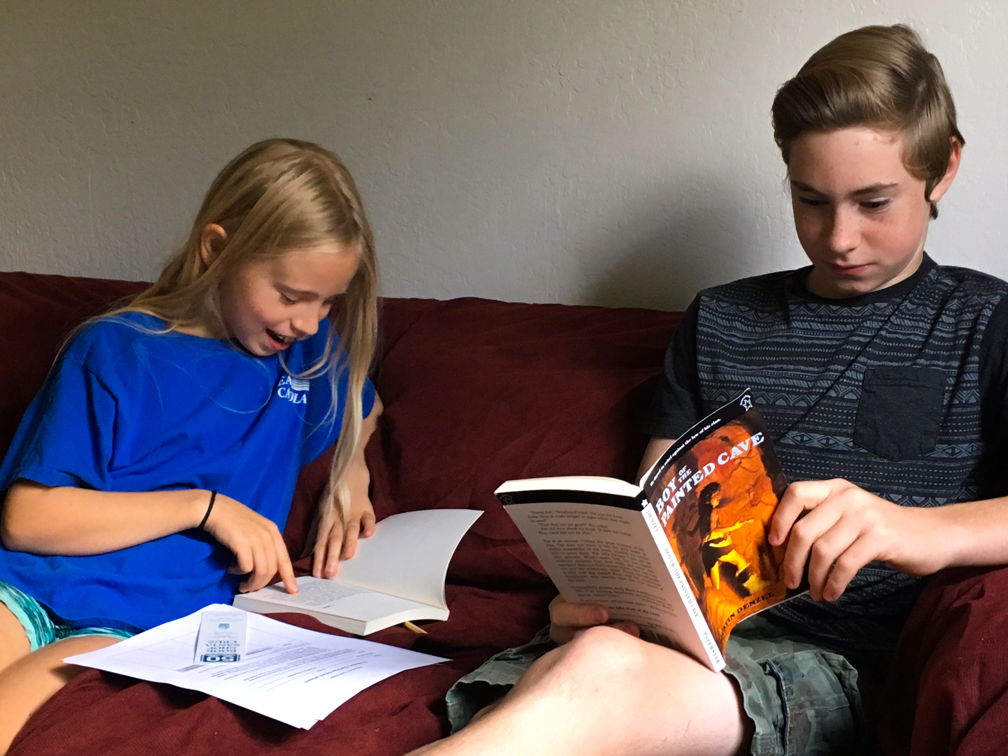 middle school children studying