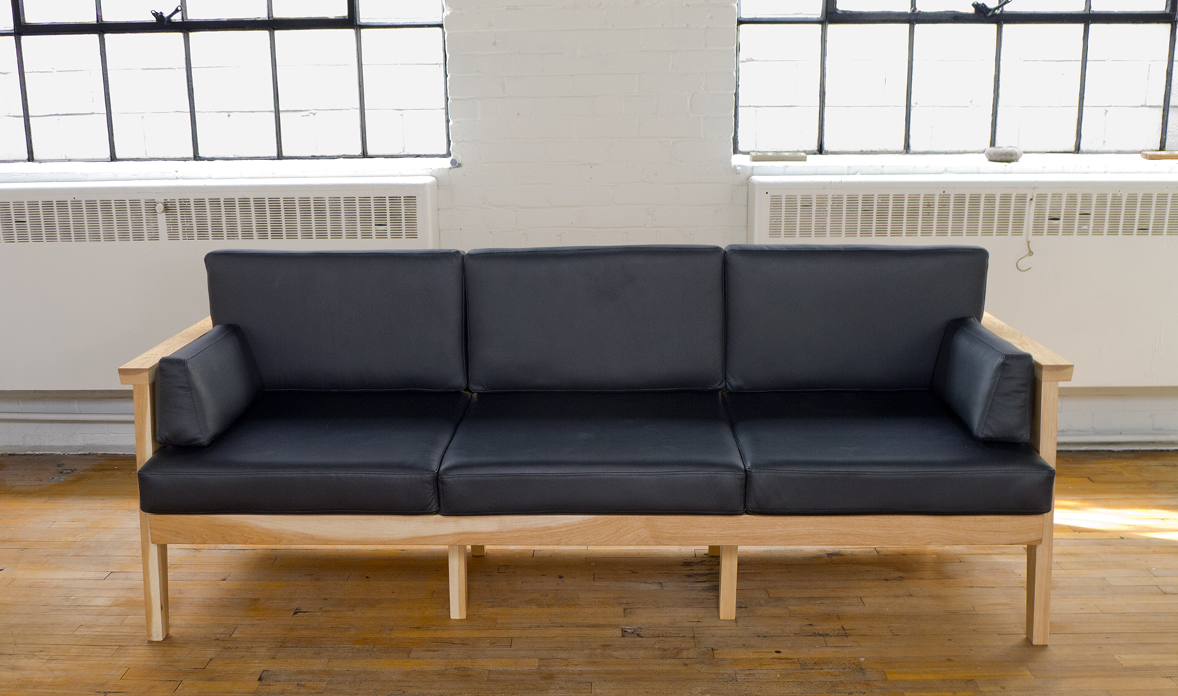 Modern Wood and Leather Sofa