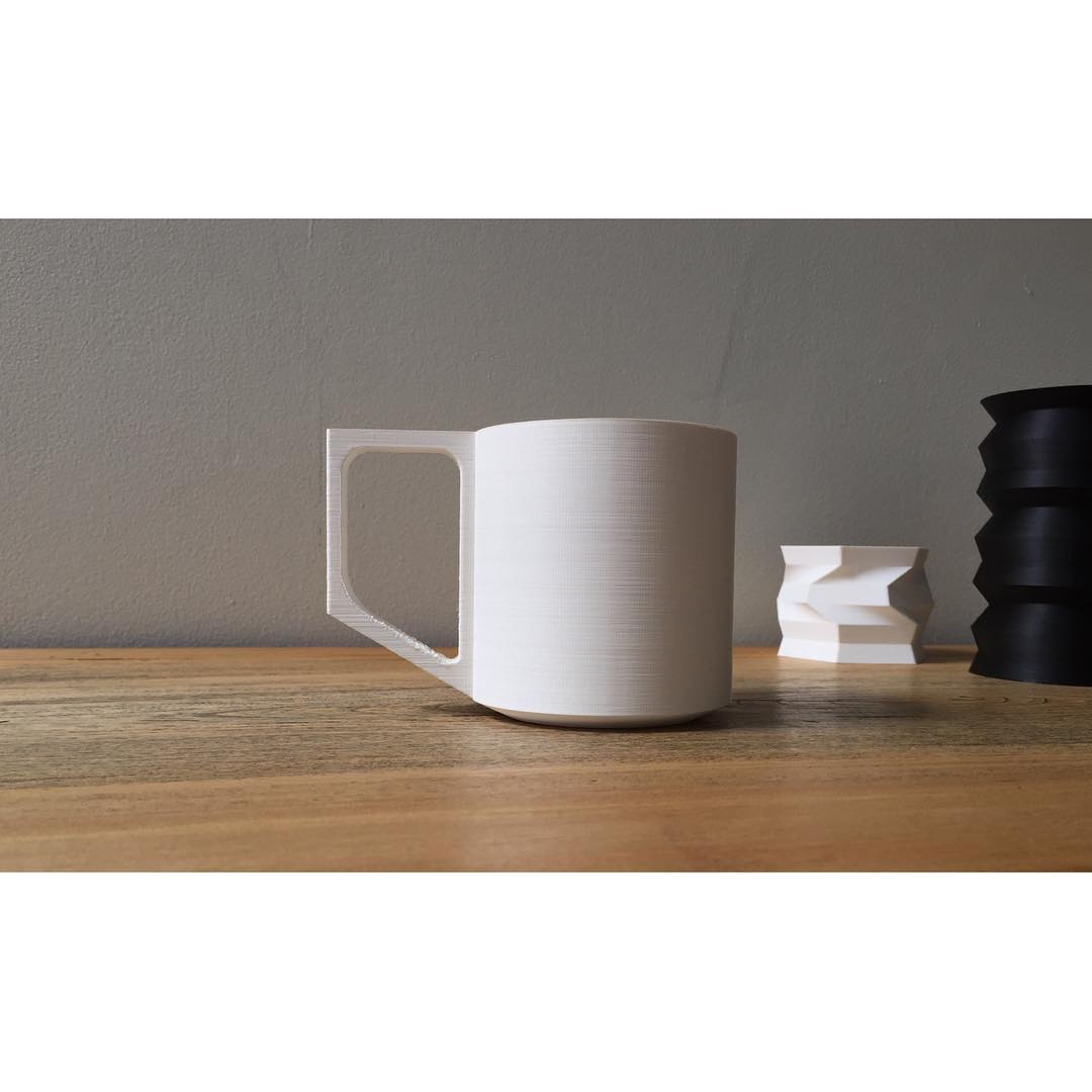 First mug prototype is printed, 10oz capacity with a bit of room to spare. What do you think, would you like to drink your coffee from a ceramic version of this? #prototype #wip #design #moderndesign #3dprinted #3dprinting #coffee #coffeemug #productdesign #torontomade