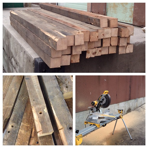 Just got this load of heritage Douglas Fir beams in at the shop. I had to cut them in half outside just so I could get them inside. #reclaimedwood #woodworking #salvageinteriors #toronto
