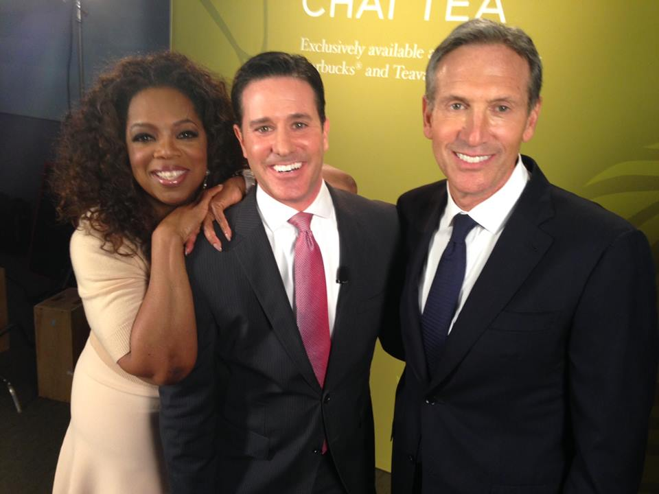 Matt with Oprah and Starbucks Chairman and CEO Howard Schultz following interview in March 2014.