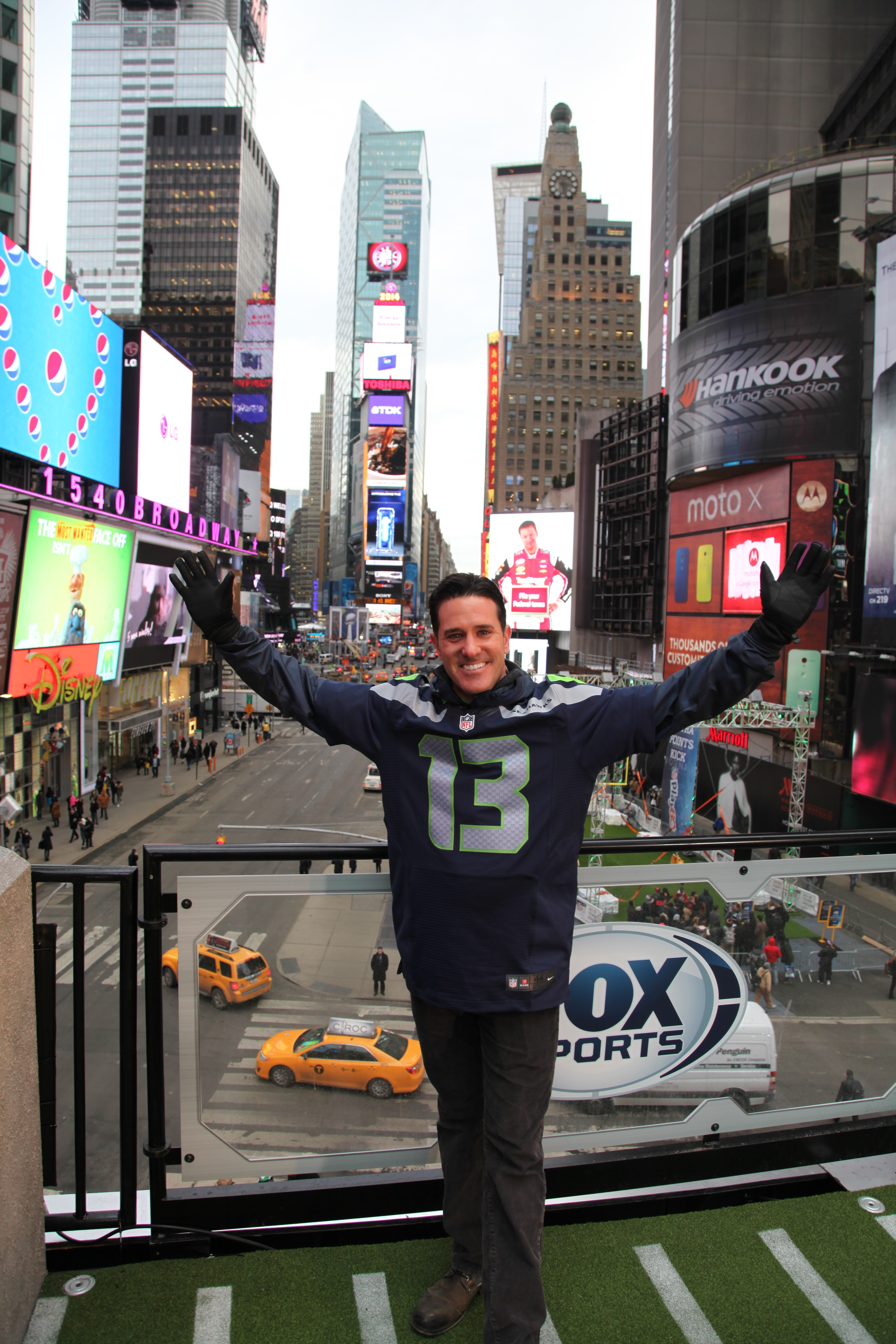 Times Square, NYC. Covering Super Bowl XLVII.