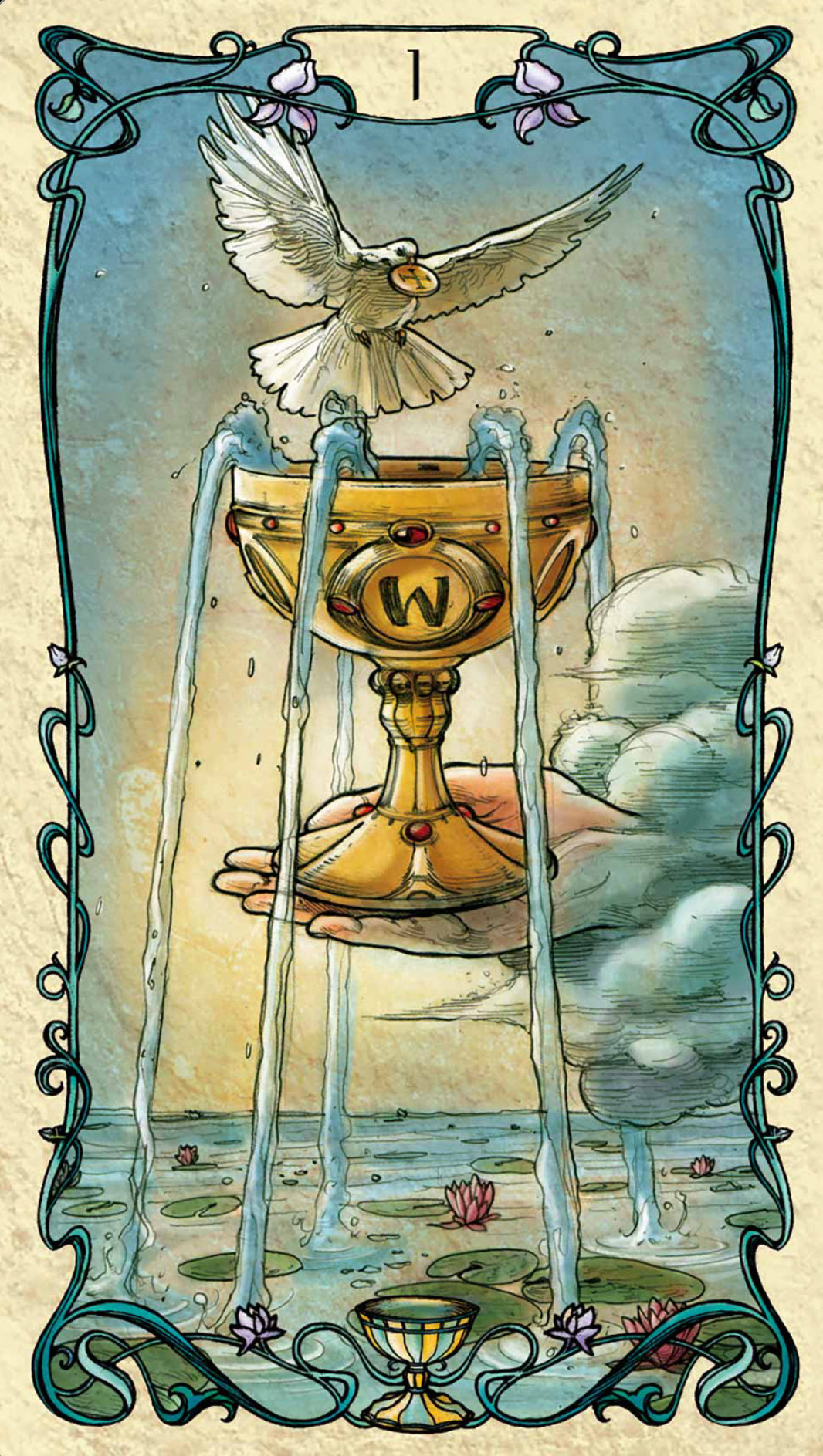 image: Ace of Cups; Tarot Mucha deck