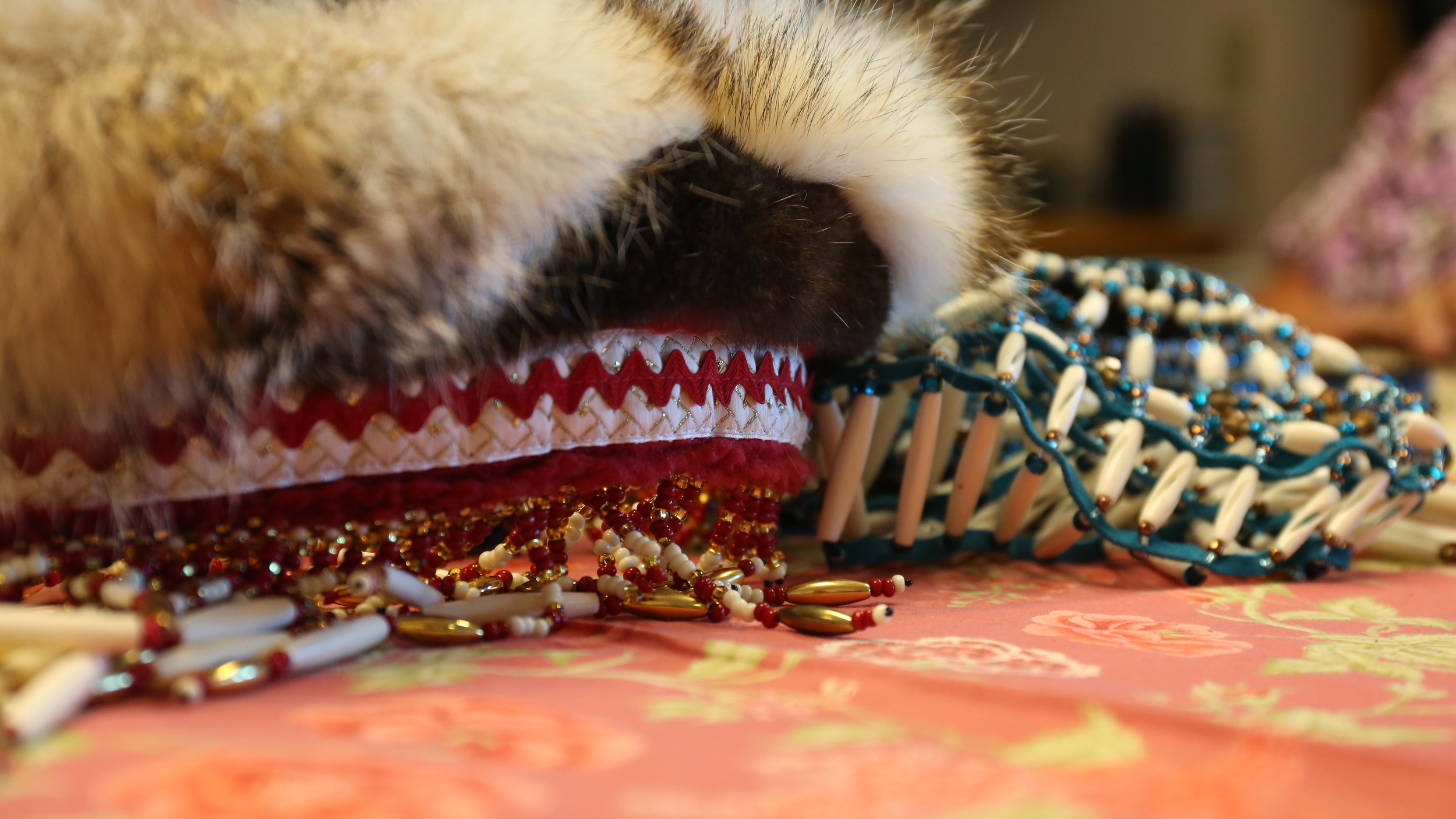 Native Eyak Headdresses made by Jackie Ladd, the Elder Care Coordinator at the Native Village of Eyak