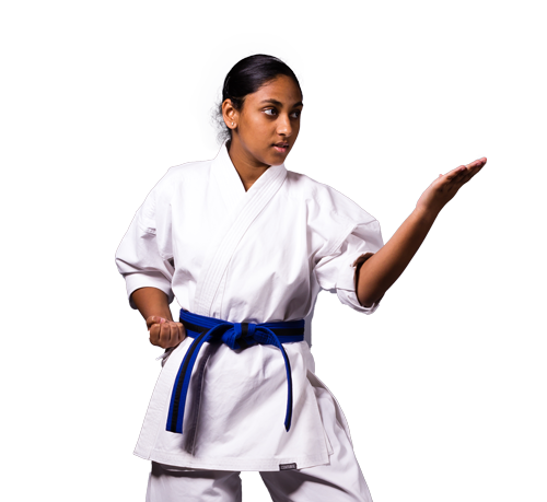 American Karate student practicing kata for competition.