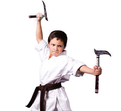 American Karate student practicing weapons form for competition.