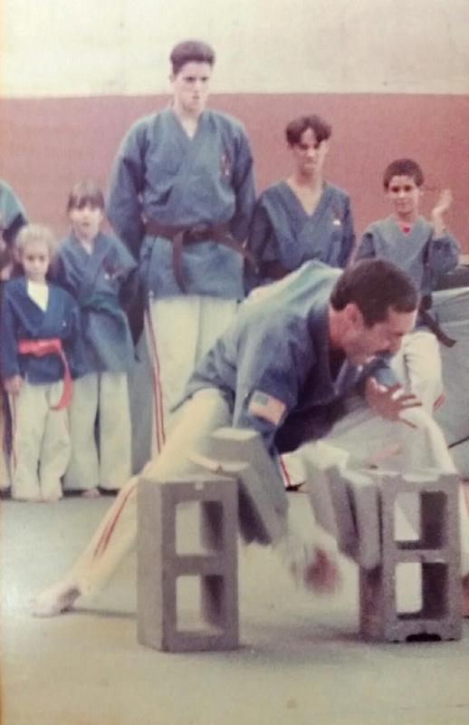 Steve Sutton breaking bricks