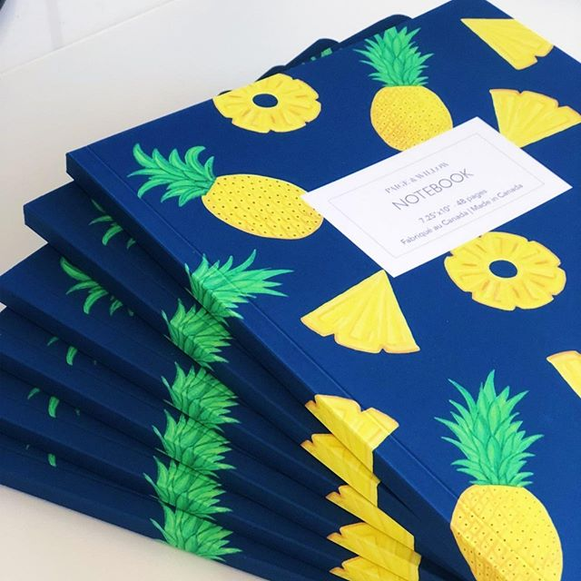 Have you seen our lovely notebooks yet? They have a super soft velvet cover and nice bright colours! Go check it out at paigeandwillow.com 🍍 #notebook #pineapple #velvet⠀ ------------⠀ .⠀ .⠀ .⠀ #paigeandwillow #stationery #madeincanada #design #illustration #handpainted  #madewithlove #mtl #love #pretty #fun #buylocal #montreal #canada #creative #giftideas #nature
