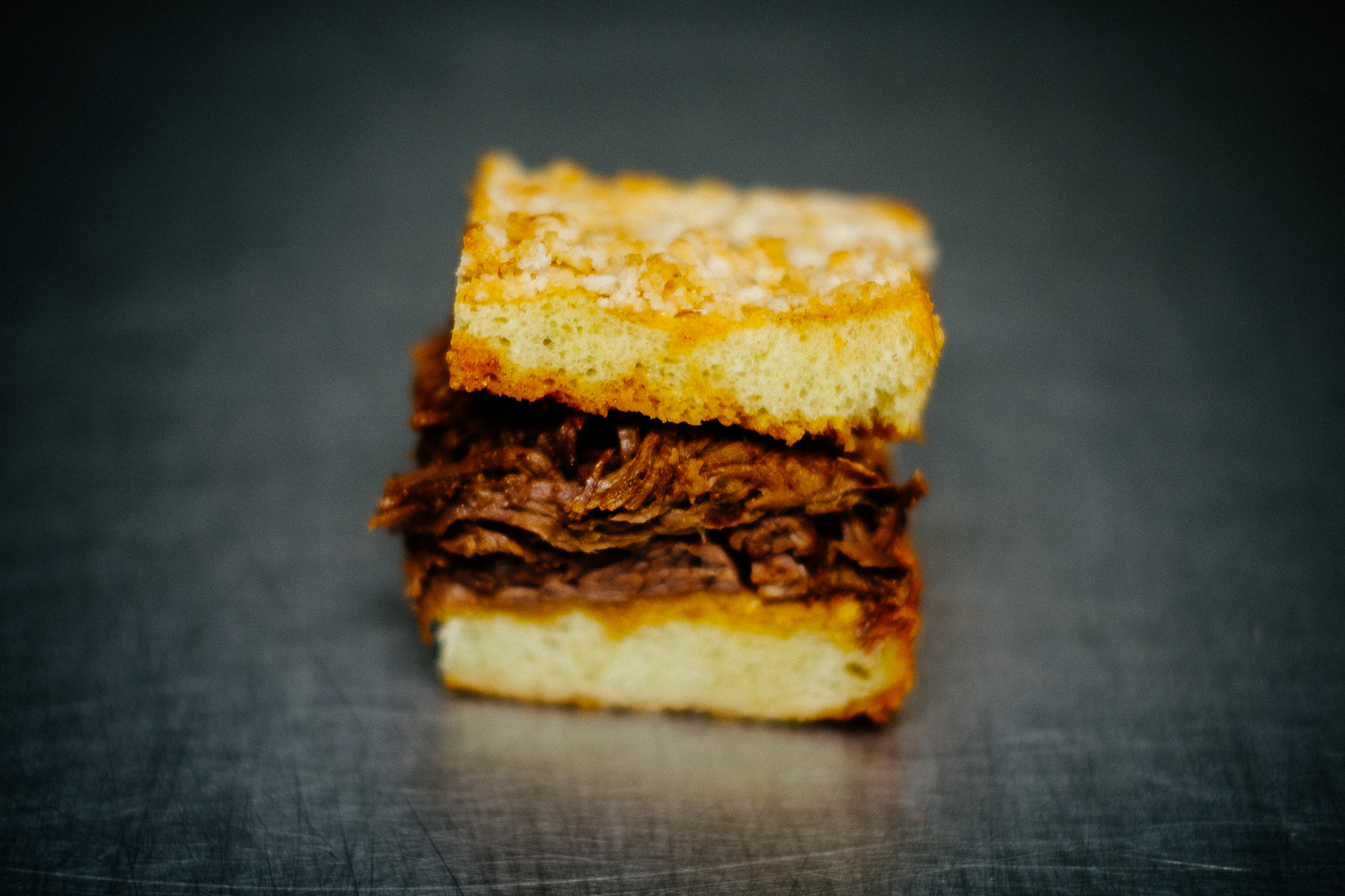 Here is the peek at our brisket—as a slider! We do all our sandwiches as sliders!