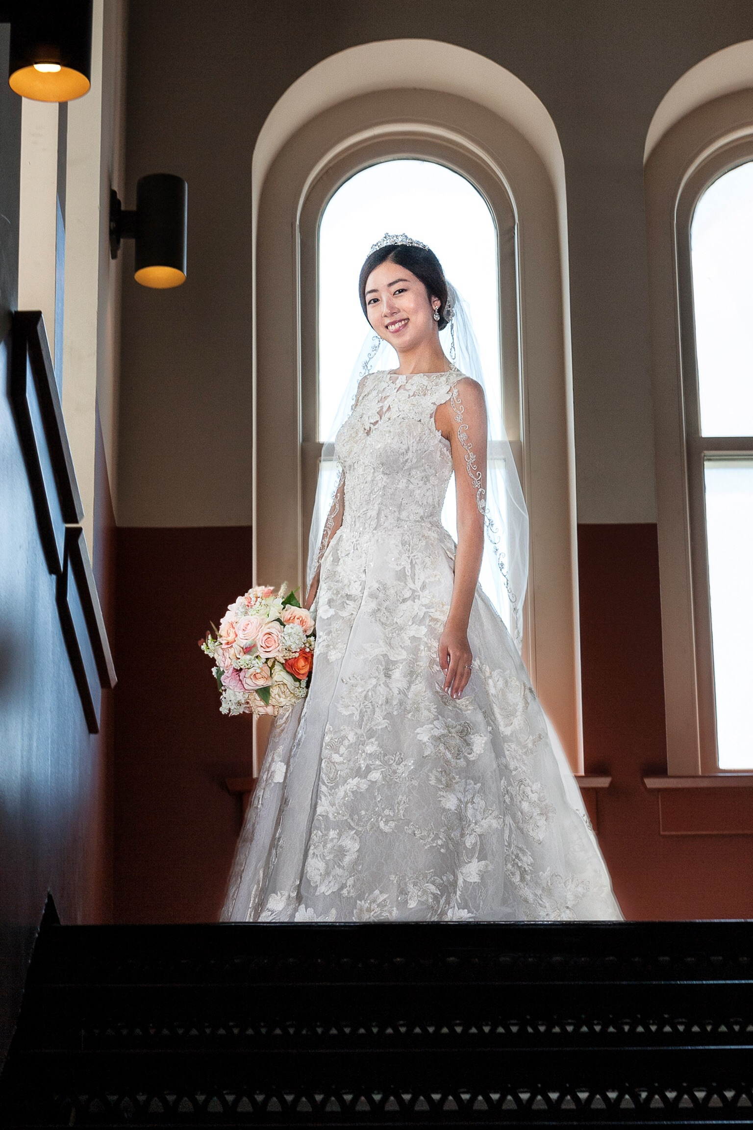 louisville wedding photography, bride on stairs, wedding gown, bouquet, old medical school building, louisville