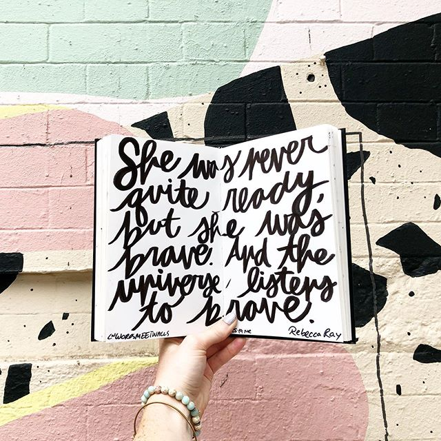 """She was never quite ready, but she was brave. And the universe listens to brave."" - @happihabits (Dr. Rebecca Ray) . I think the key part of the quote is ""never quite ready"". At first, I was like, ""yes, so true. We're never quite ready. There's never going to be a perfect time. We're never going to be fully prepared."" But then I started thinking about it more, and I thought, ""actually what if we always are quite ready, we're just afraid."" We may be as ready as we can be - even if that means that not all of our plans are fully in place. . We all probably perceive ""readiness"" differently. From some of us, it might be knowing the next 3 steps or the next 10 steps, or maybe just the first step. But what will keep us between ""Ready, Set"" and ""Go"" is that fear, trust, and bravery. And that's the part where the universe steps in. You were as ready as you could be, and you made the choice to be brave, so the universe responded by helping you in the areas that weren't ""quite ready"". . Be your type of ready and be brave. See where it takes you. . Wall: @alexproba"