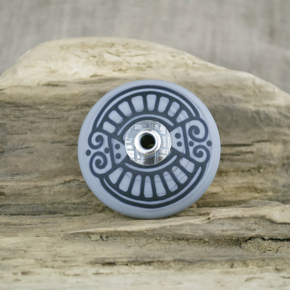 Beads of Black Glass Riveted to a White Metal Base 4 Like Buttons with Matte Finish