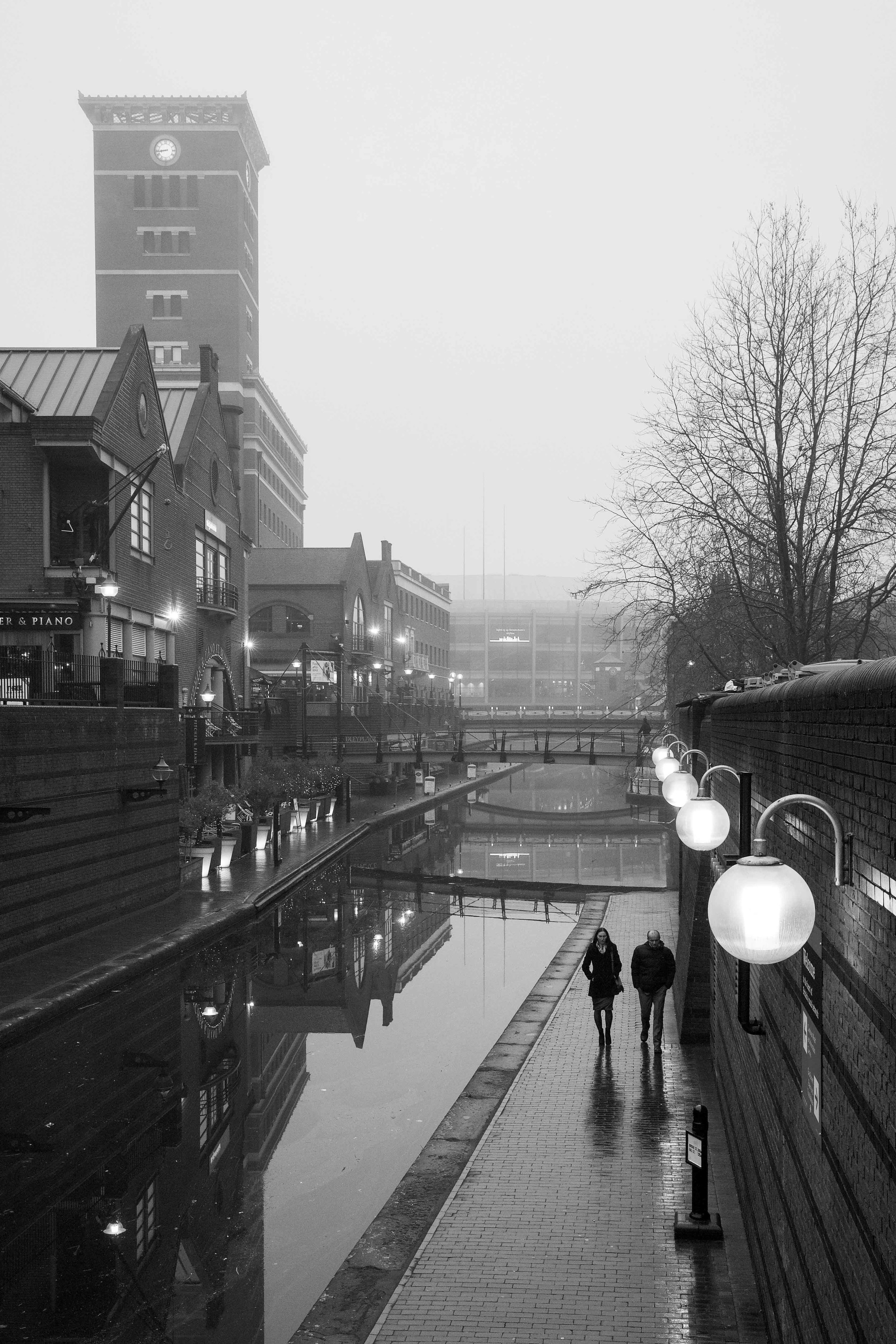 January: Misty morning in Brindleyplace.