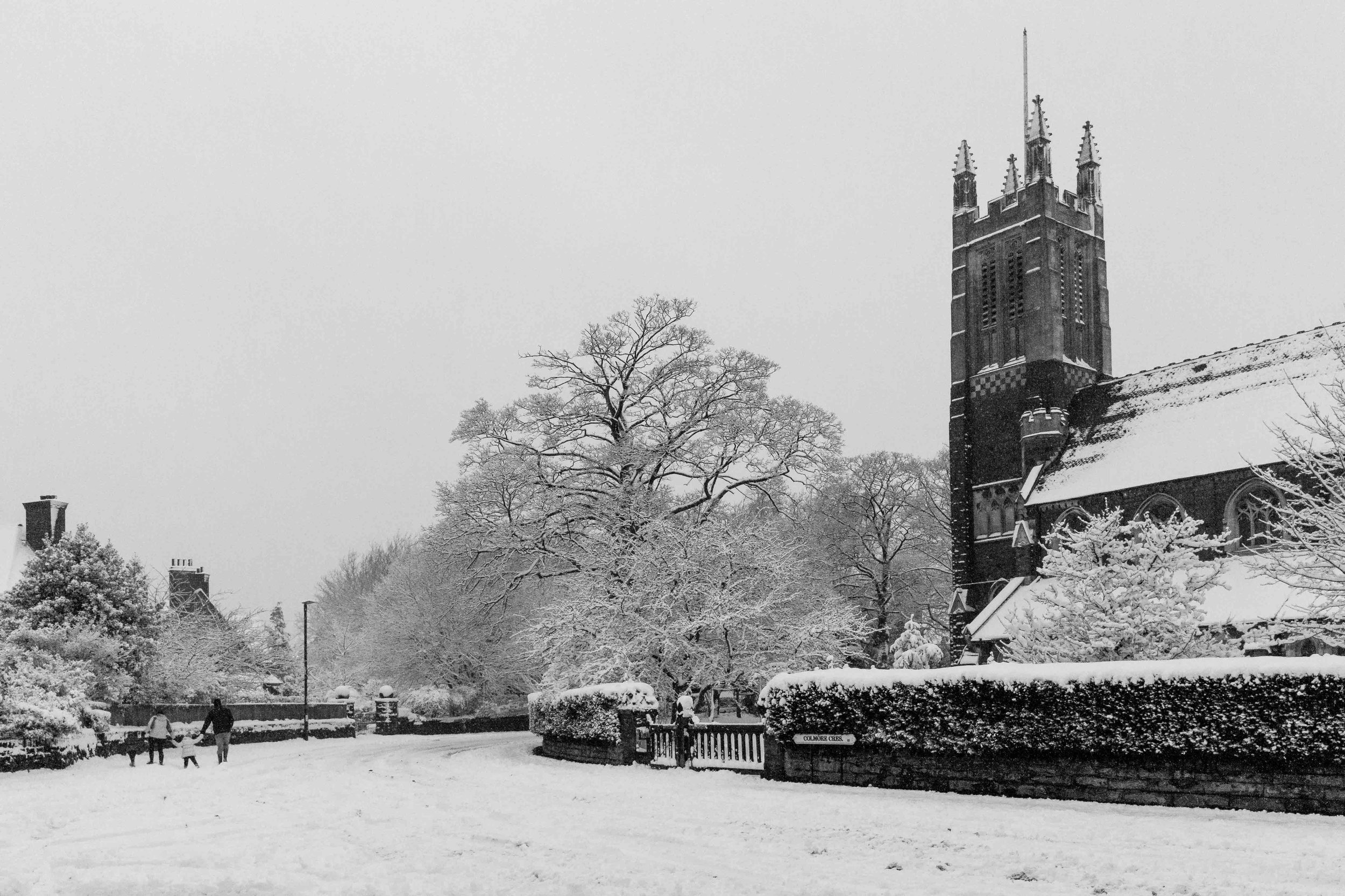 December: Moseley in the snow.