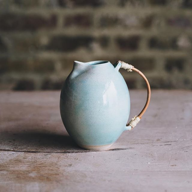 Another jug from the masterful @patolearyceramics  Photo @arturrummel  #jug #stoneware #ceramicjug #bamboohandle