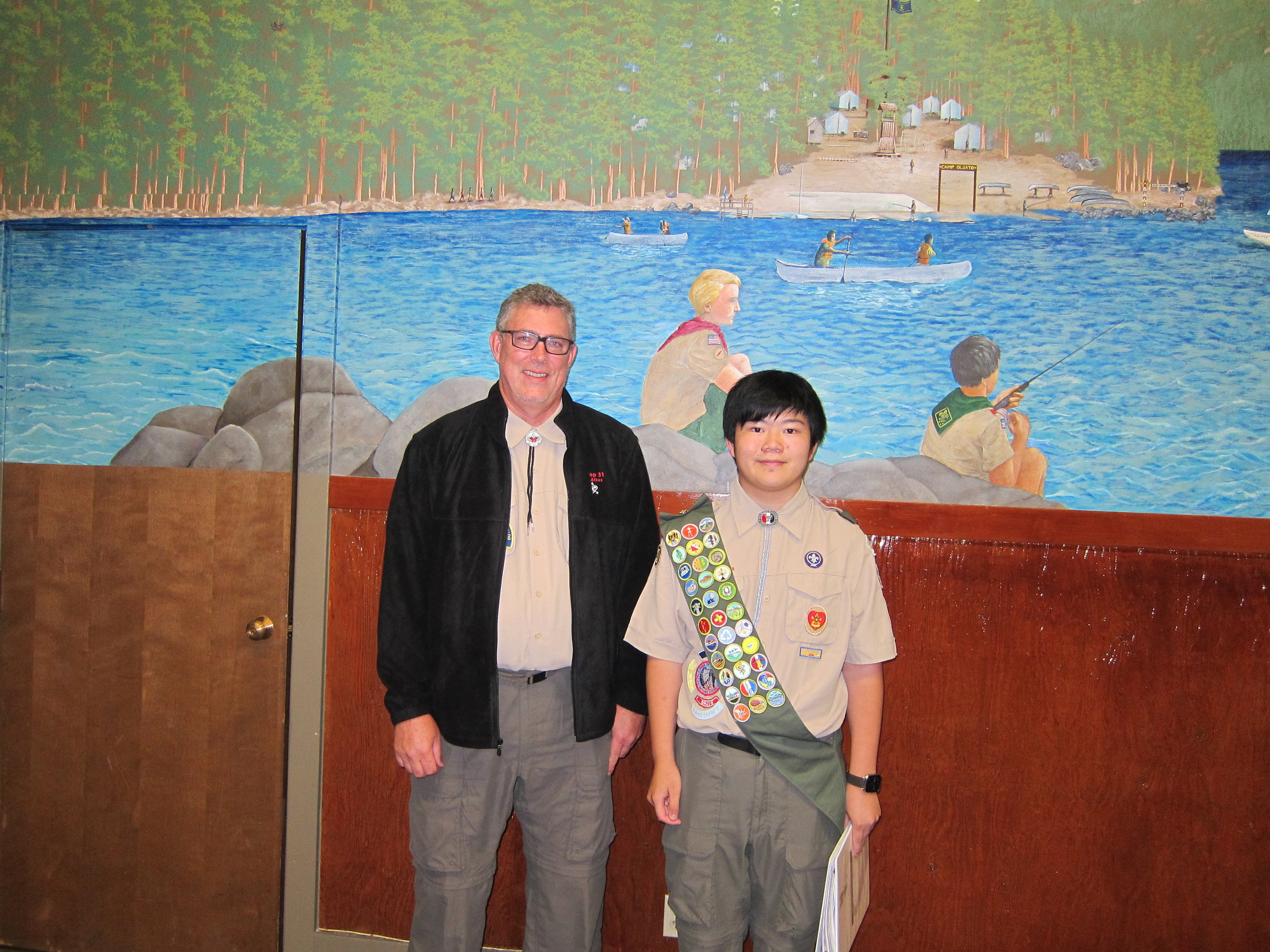 Jeff Marlett, Troop 31 Scoutmaster (left) and Eagle Scout Terence Lee (right) attending Eagle Board on August 25, 2016
