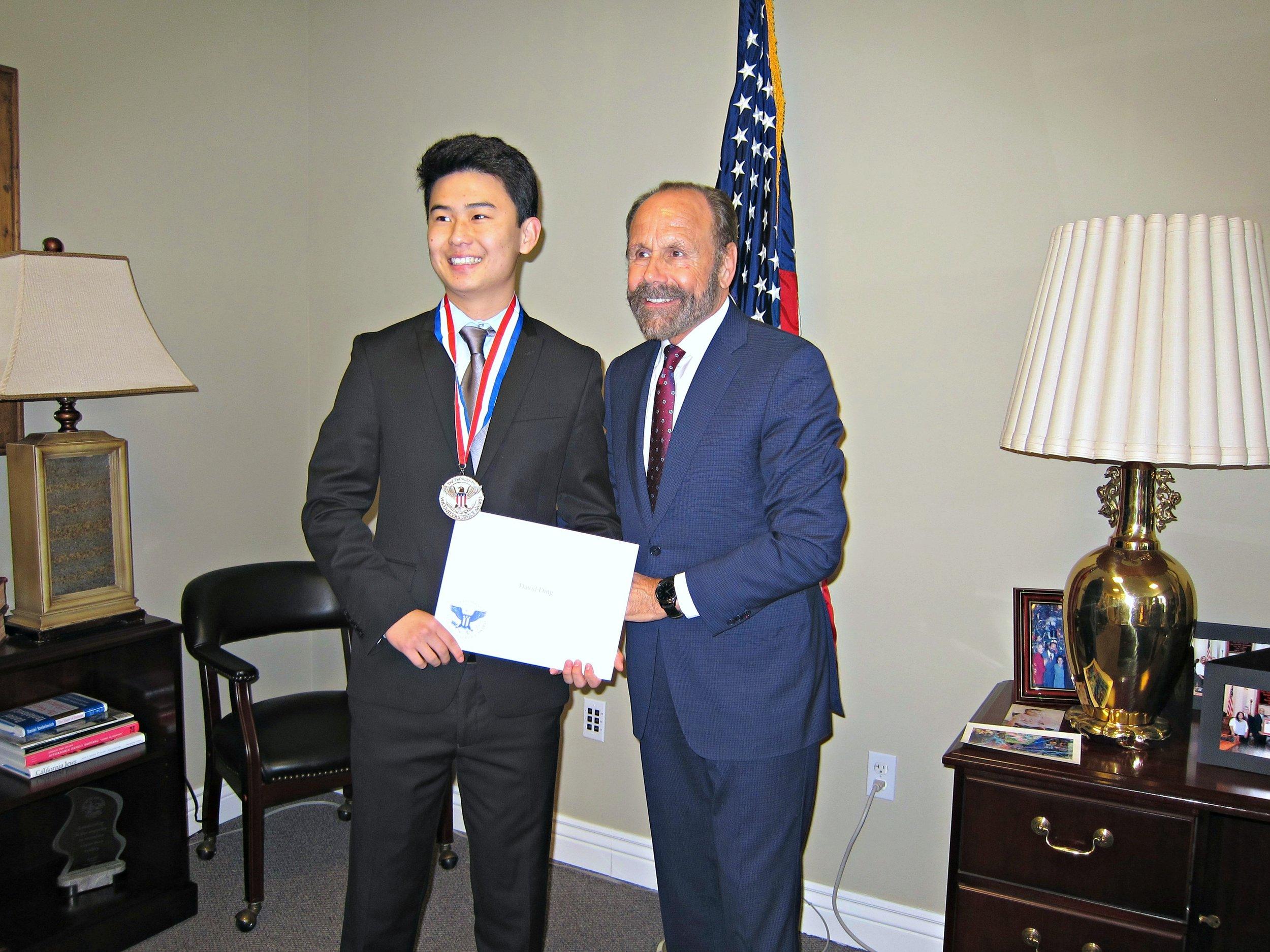 David Ding (left), Senator Jerry Hill