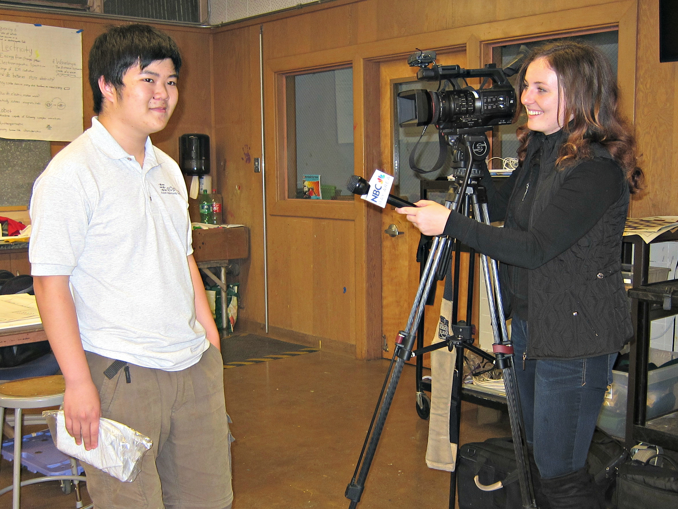 Rebecca Greenway, reporter journalist from NBC Bay Area interviewing Terence Lee (left), EqOpTech Founder