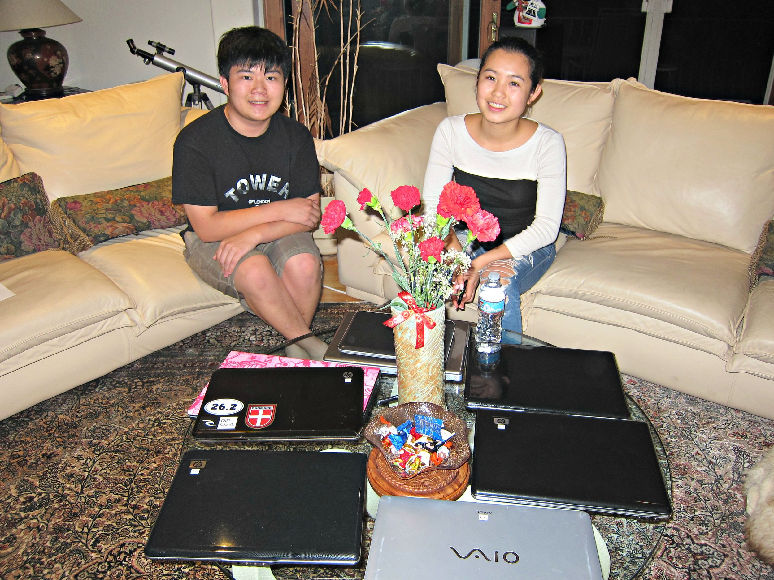 Terence Lee , LAHS junior (left) and Shannon Yan, Stanford University freshman (right)