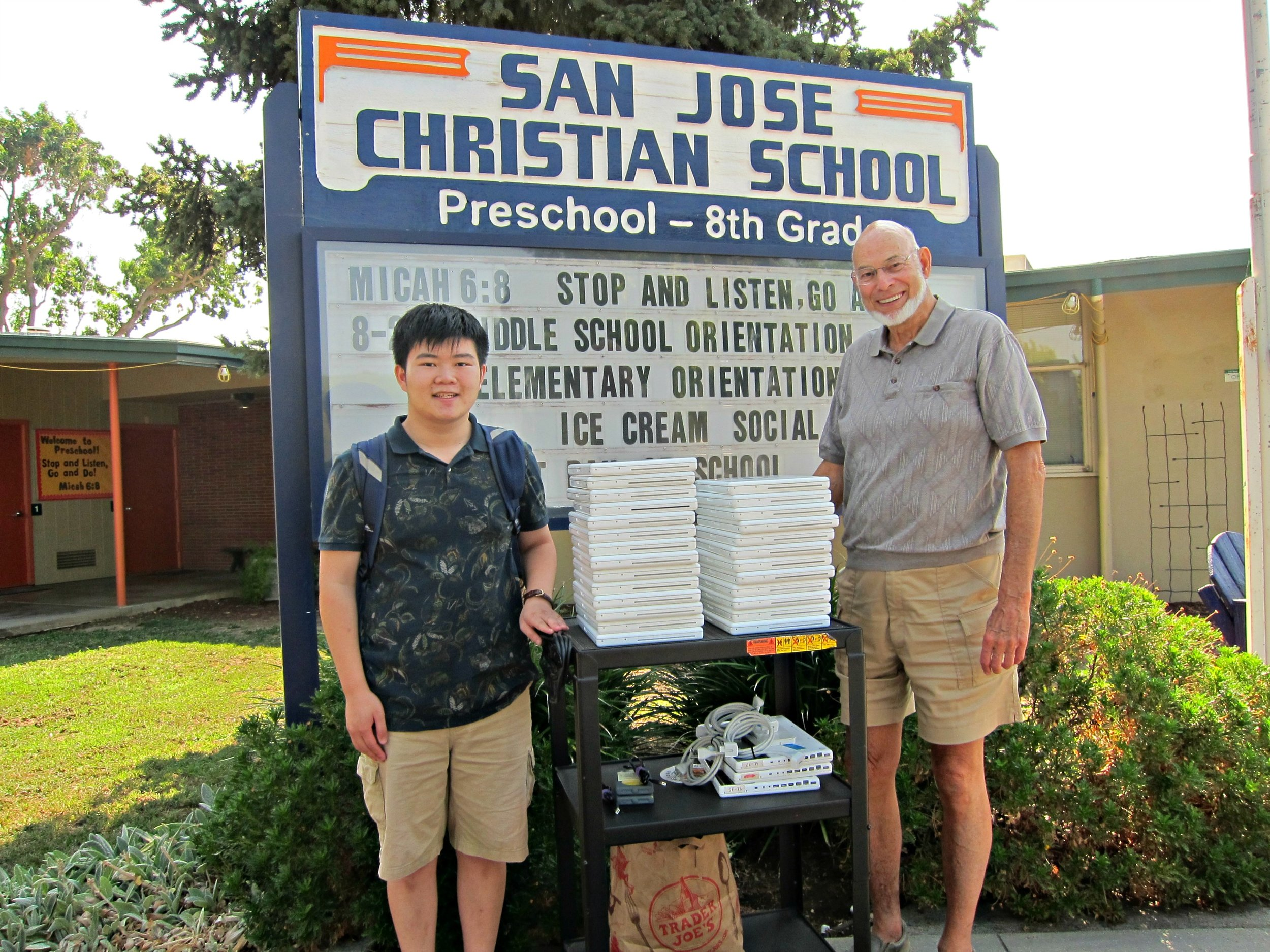 John Wynbeek, San Jose Christian School IT Director (right) and Terence Lee, EqOpTech Founder