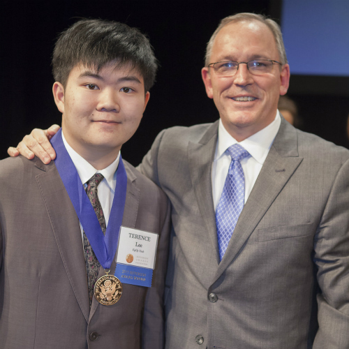 Terence Lee (left) receiving his Jefferson Award Medal from Jack Russi, Chairman, Board of Governers, Jefferson Award Foundation, Courtesy of Ashley Cosmi, CBS KPIX
