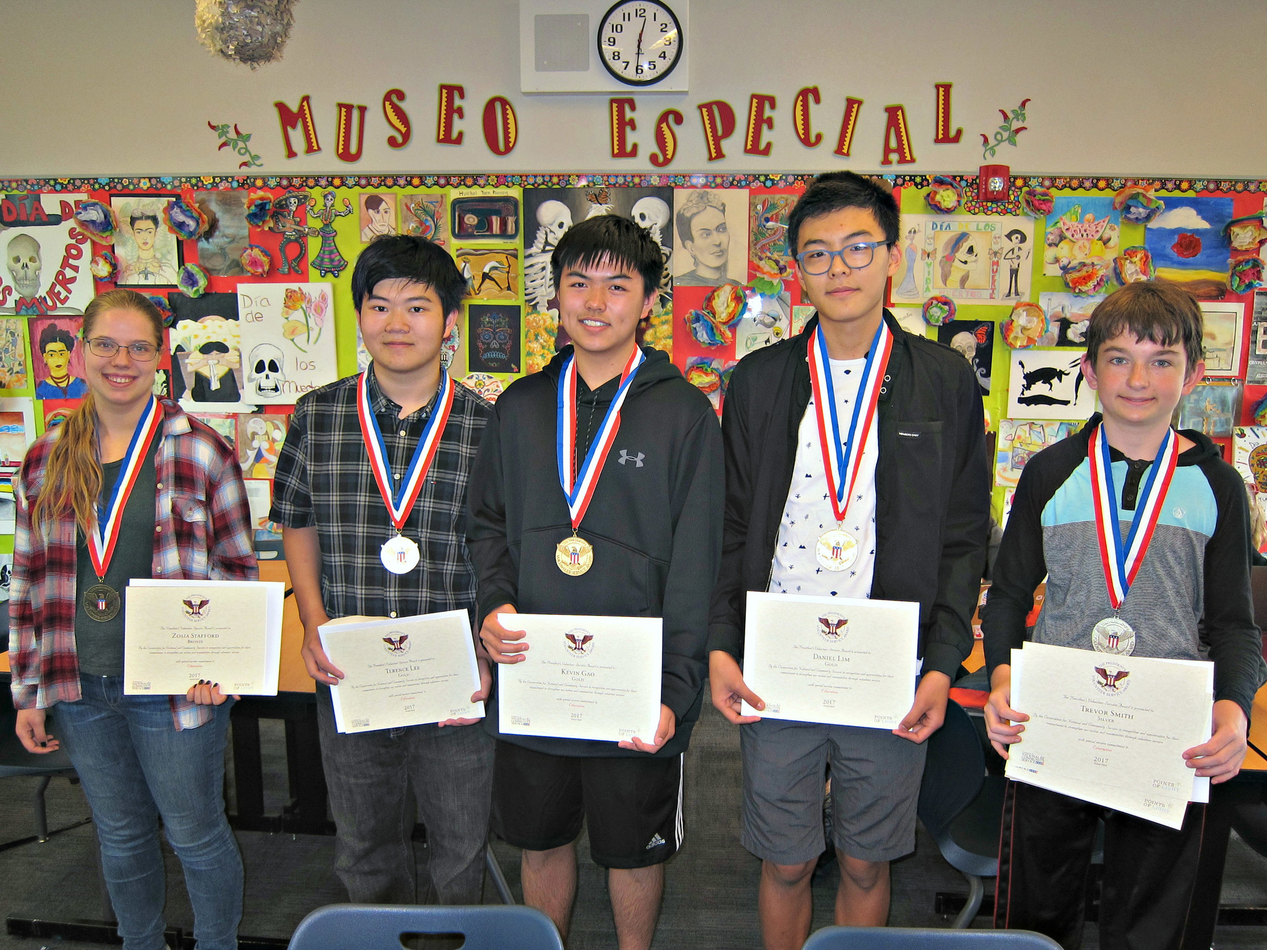 Zosia Stafford, Terence Lee, Kevin Gao, Daniel Lim, Trevor Smith (left to right)