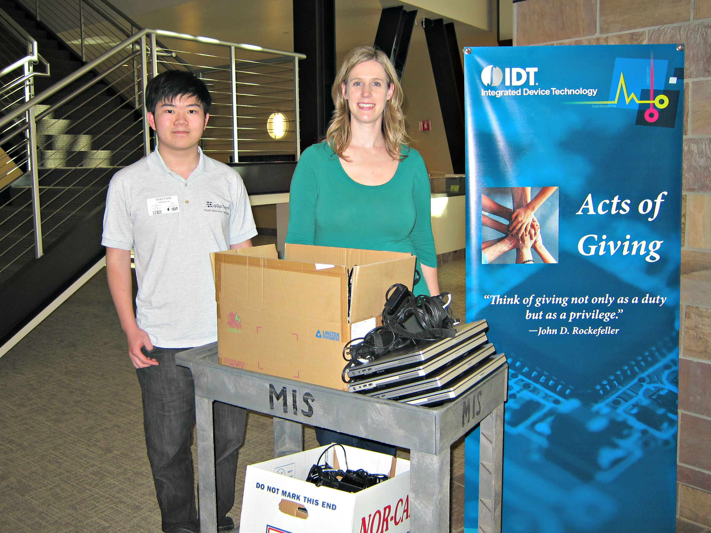 Kristina Bullock, IDT, Principal HR Business Partner and Manager of the IDT Acts of Giving Program (right) and Terence Lee, EqOpTech Founder