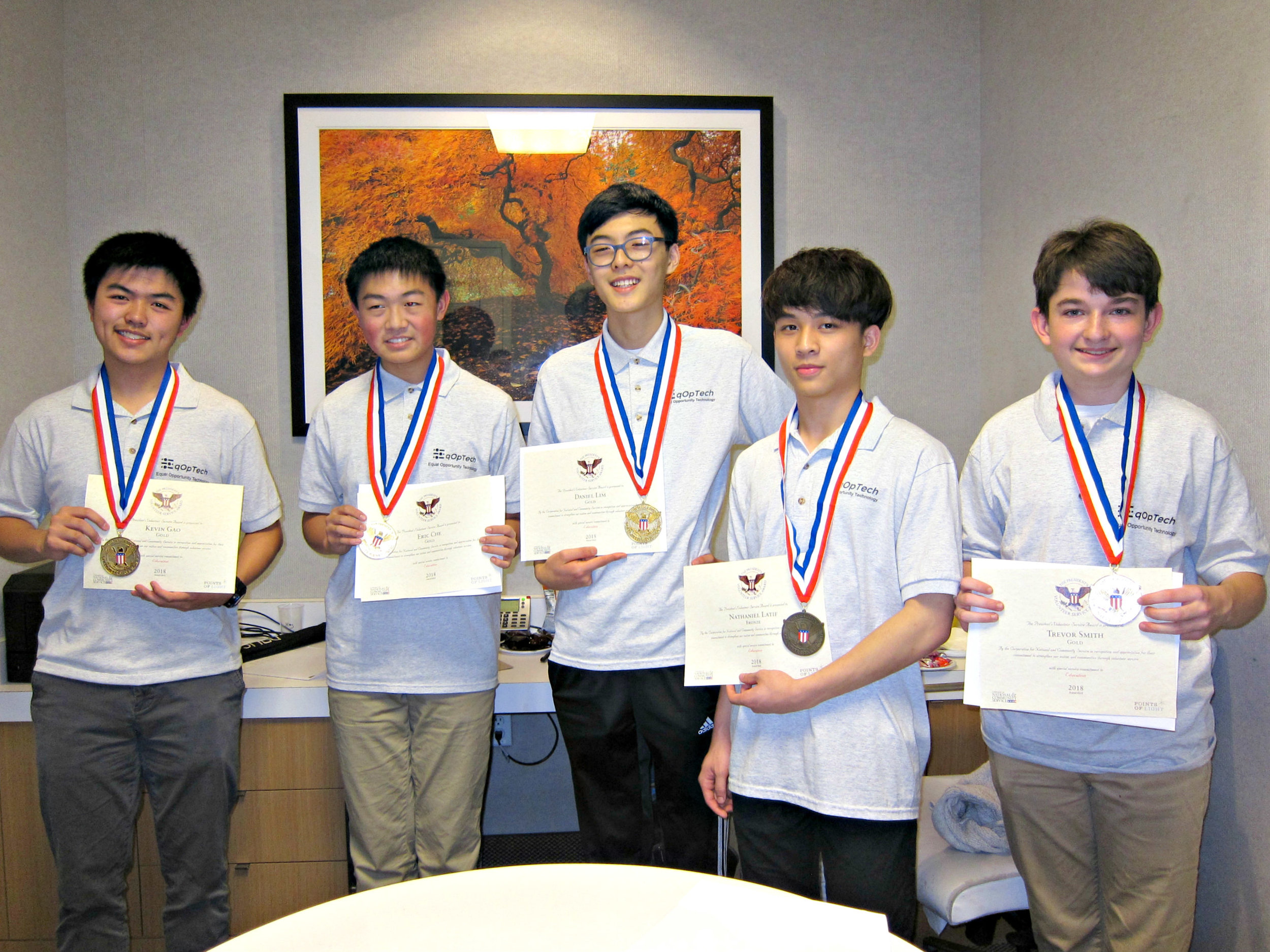 Kevin Gao, Eric Che, Daniel Lim, Nate Latif, Trevor Smith (left to right) - 2018 President's Volunteer Service Award medalists