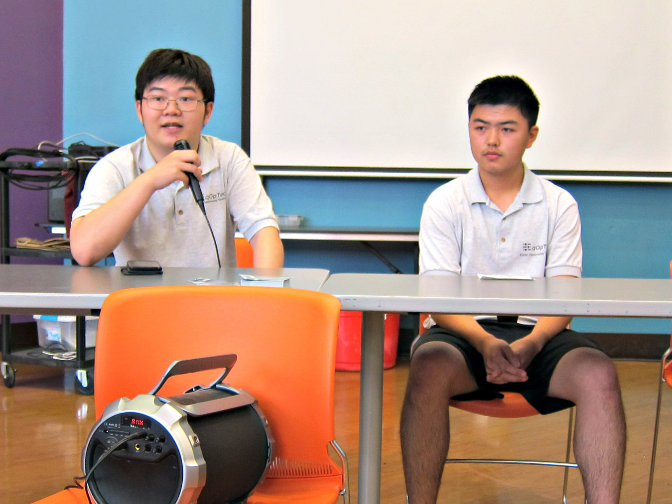 Student Q&A panel, Kevin Gao (right) & Terence Lee