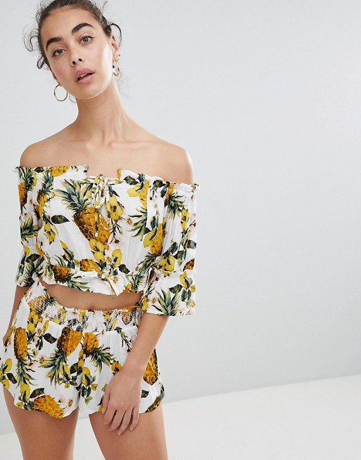 River Island Pineapple Print Off The Shoulder Beach Top