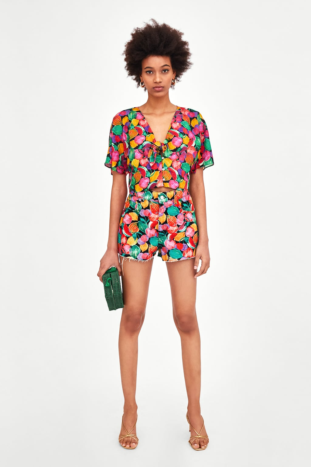 ZARA FRUIT PRINT TOP AND SHORT