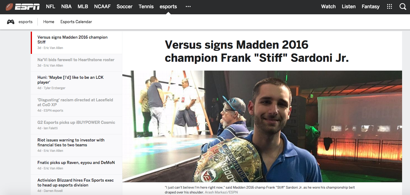 Versus Sports Signs Madden 2016 Champion Stiff (Photo: ESPN)
