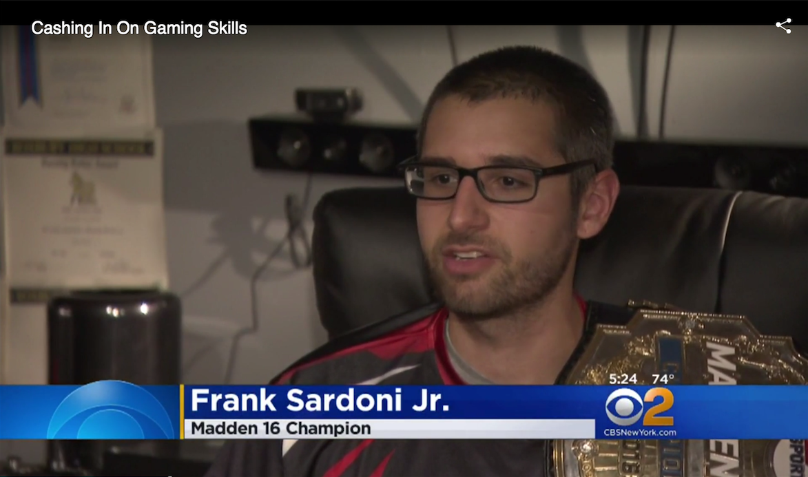 "Versus Sports EA Madden NFL Athlete Frank ""Stiff"" Sardoni Jr. (Video:  CBS2 New York )"