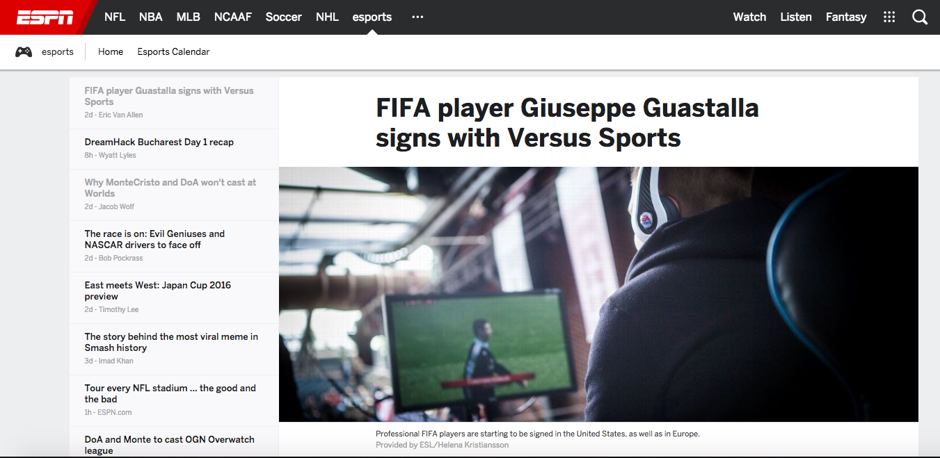Versus Sports Signs Giuseppe Guastella (Photo: ESPN)