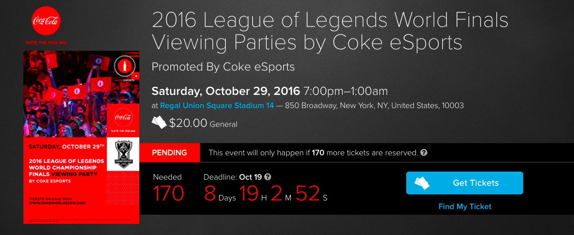 Coca-Cola 2016 League Of Legends Finals Viewing Party (Photo: Tugg)