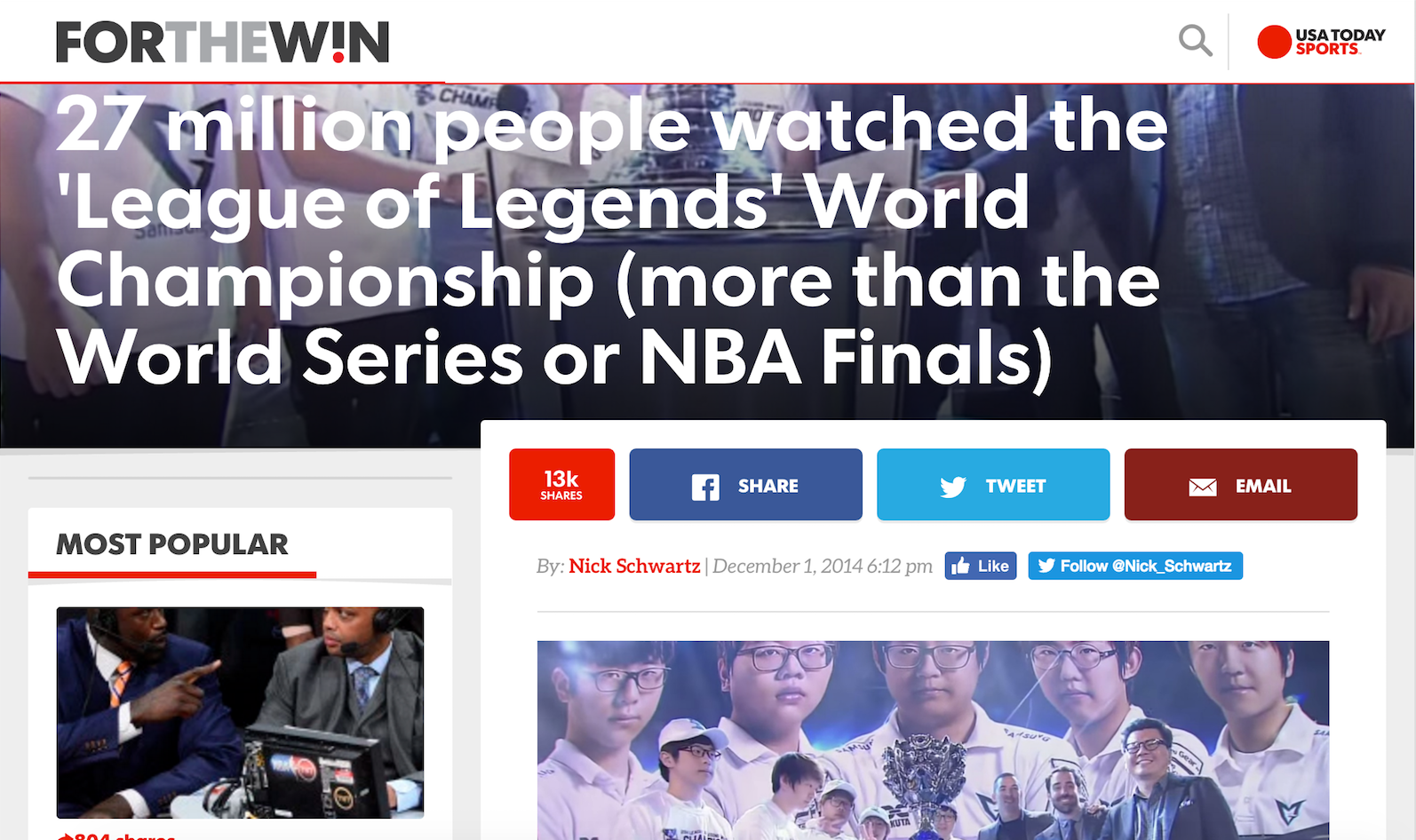 USA Today's League of Legends Headline (Photo: USA Today)
