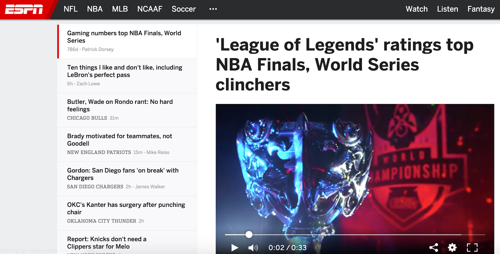 ESPN's League of Legends Headline (Photo: USA Today)