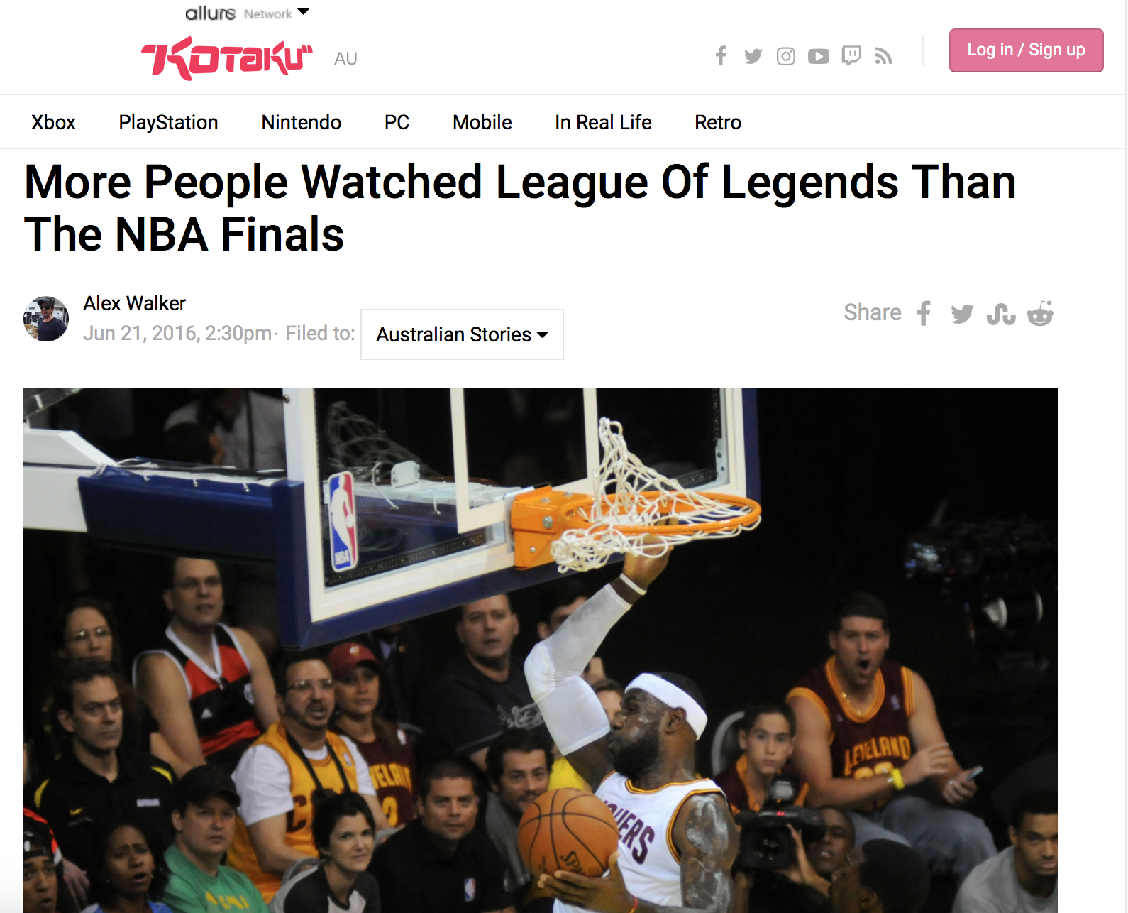 Kotaku's League of Legends Headline (Photo: USA Today)