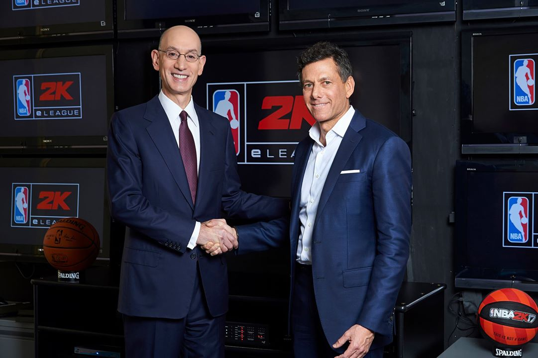 NBA Commissioner Adam Silver and Take Two CEO Strauss Zelnick Announce NBA 2K eLeague (Photo: NBA/Take Two)