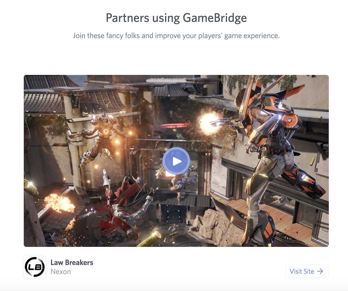 Gamebridge Integration In Lawbreakers (Photo: Discord:)