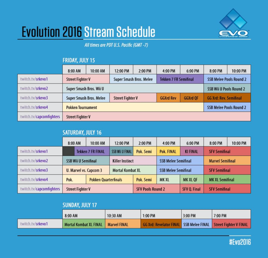 EVO Weekend Schedule On Twitch (Photo: EVO)