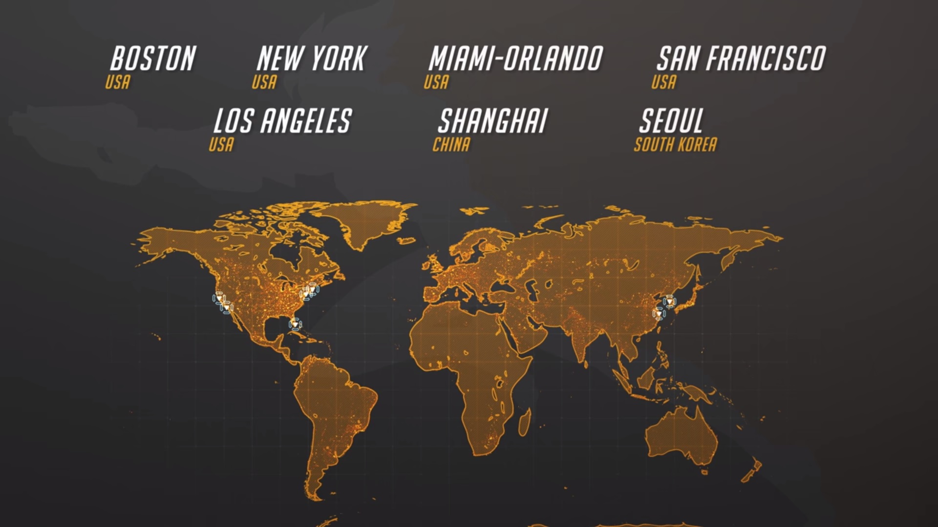 7 of the confirmed Overwatch League Locations (Photo: Youtube)